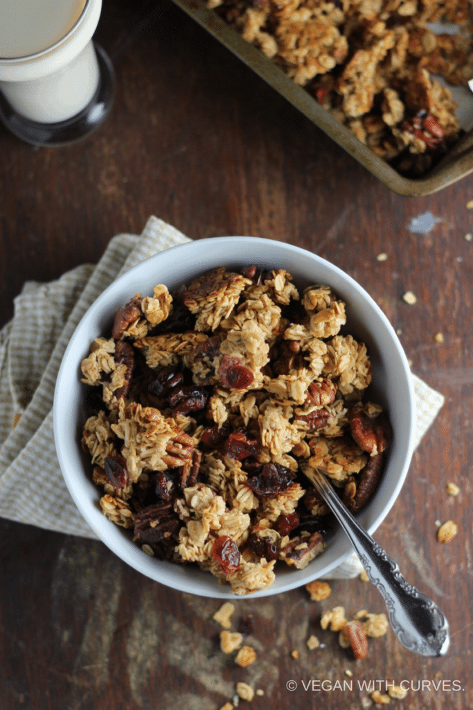 homemade granola recipe in a white bowl