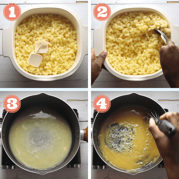 step by step grid photos of seasoning elbow pasta and making a roux