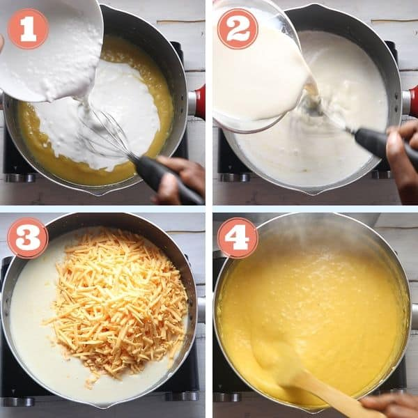 tep by step grid photos of adding milk to roux, vegan cheese and mixing it until vegan cheese melts