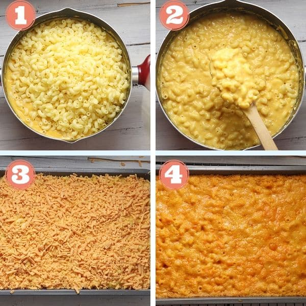 tep by step grid photos of pasta mixed in cheese sauce and baked