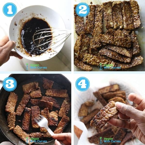 4 grid photo of tempeh being marinated and pan fried