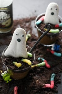 vegan chocolate pudding with candy ghost