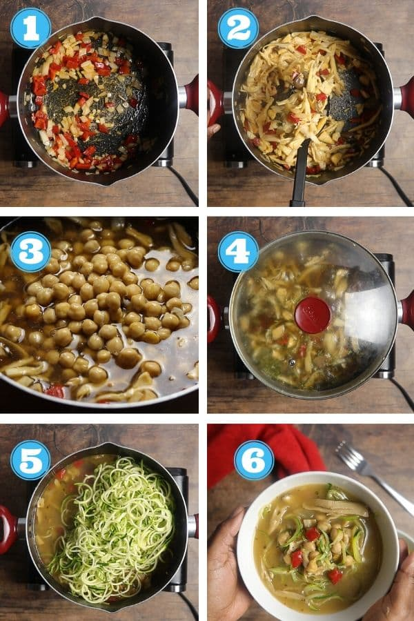 6 grid photo of step by step photos of making zucchini soup