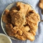 fried oyster mushrooms in a colander