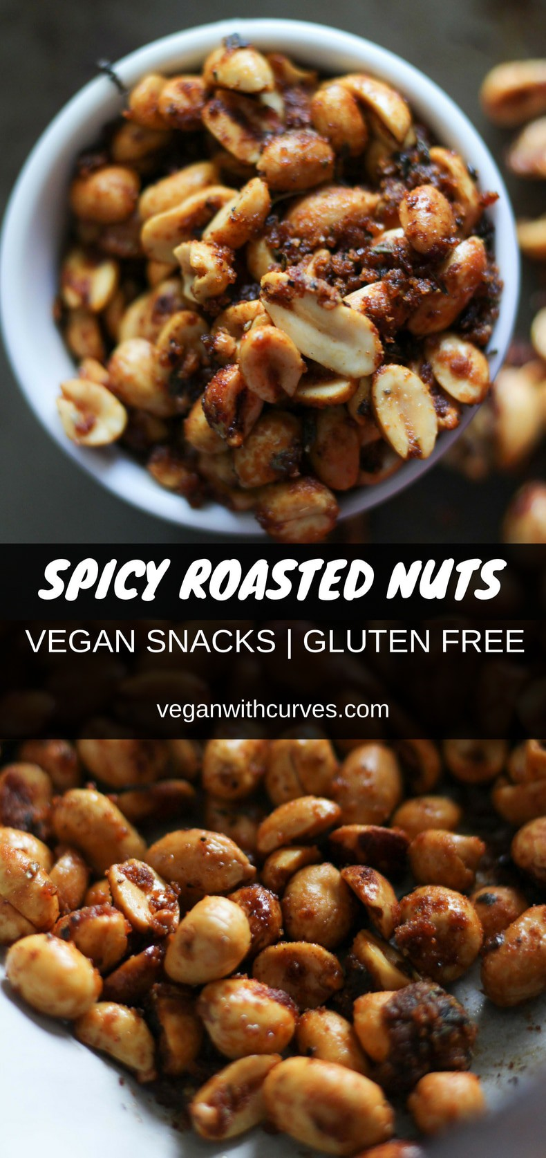 Spicy roasted nuts that are so simple and easy to make. With only 5 ingredients, this  gluten free vegan snack is ready in 15 minutes. Eat as is or top on salads! Also perfect for your game day events! #easy #vegansnack #vegan #veganrecipes #makeahead #preseason #gameday #backtoschool #peanuts #snacks #dairyfree  #gf #glutenfree