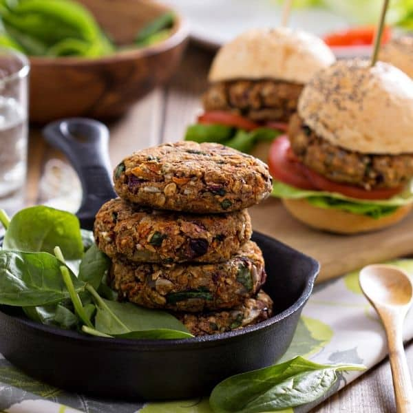 bean burgers stack on top of each other to reference vegan protein