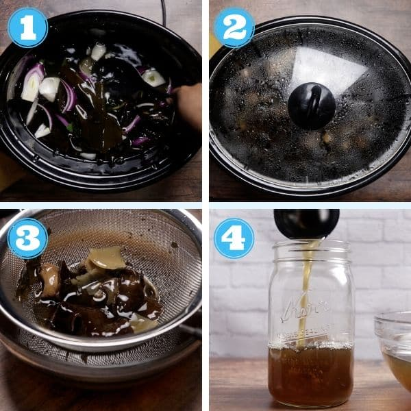 4 grid step by step photo of making broth in a slow cooker