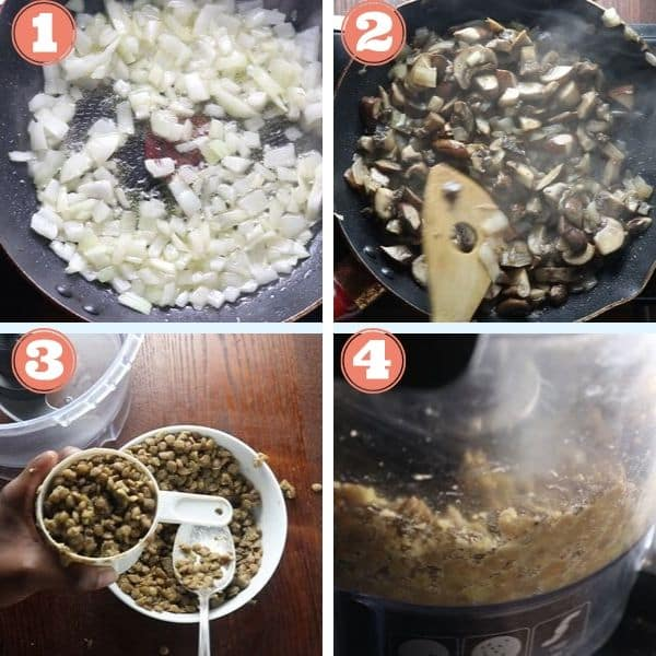 step by step 4 grid photo of sauteing onions, mushrooms, and processing cook lentils