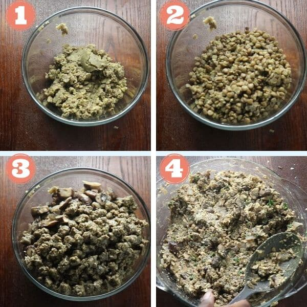 step by step 4 grid photo of add lentils, crumbles and seasonings into a mixing bowl