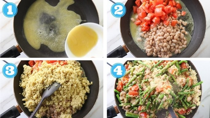 step by step photos of all millet rice stir fry with all ingredients
