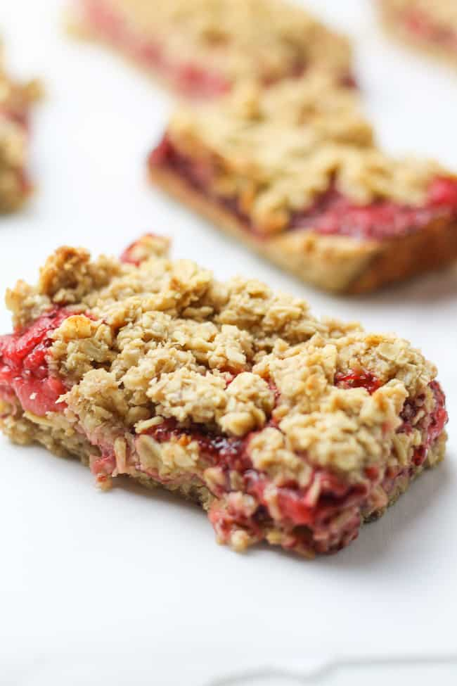 one strawberry oatmeal bar close up photo