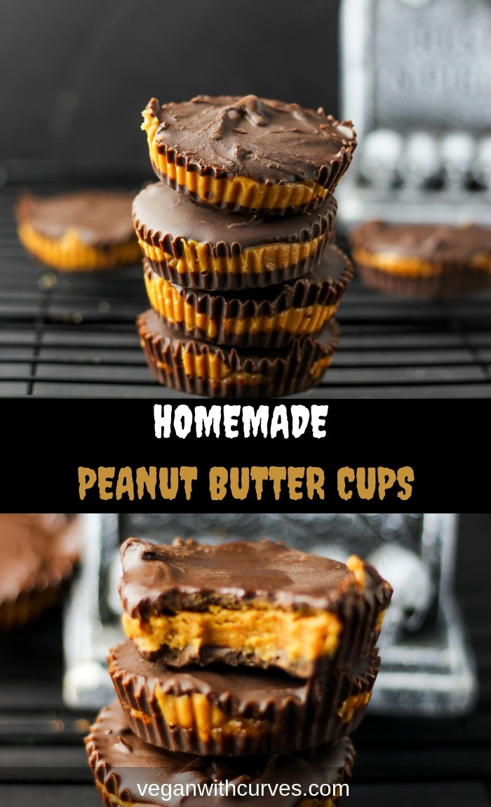 Have you ever wondered how to make Homemade Peanut Butter Cups? Well, now you can put your curiosity to rest. This Homemade Peanut Butter Cup recipe is healthy and super easy to make! And yes these are vegan! A perfect fun treat for Halloween or when you have a sweet tooth! #vegan #halloween #veganhalloween #candy #vegandesserts #peanutbuttercups #chocolate #glutenfree #soyfree #peanutbutter #homemade