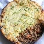 lentil shepherd's pie in a cast iron skillet