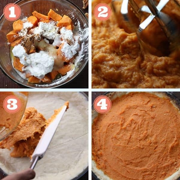 step by step photo grid of mixing sweet potato filling and adding it to pie crust