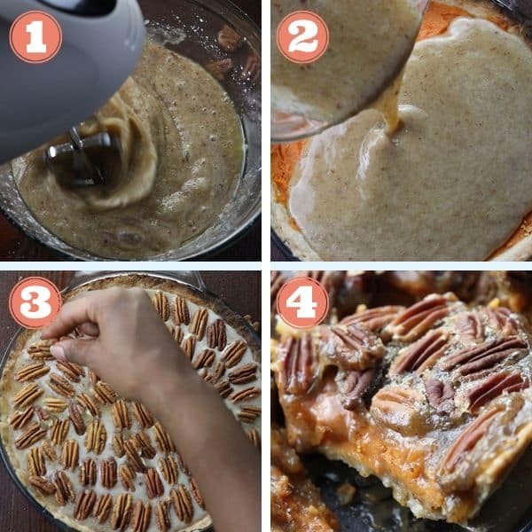 step by step photo grid of mixing pecan pie filling, adding on top of sweet potato pie filling, and topping with pecans