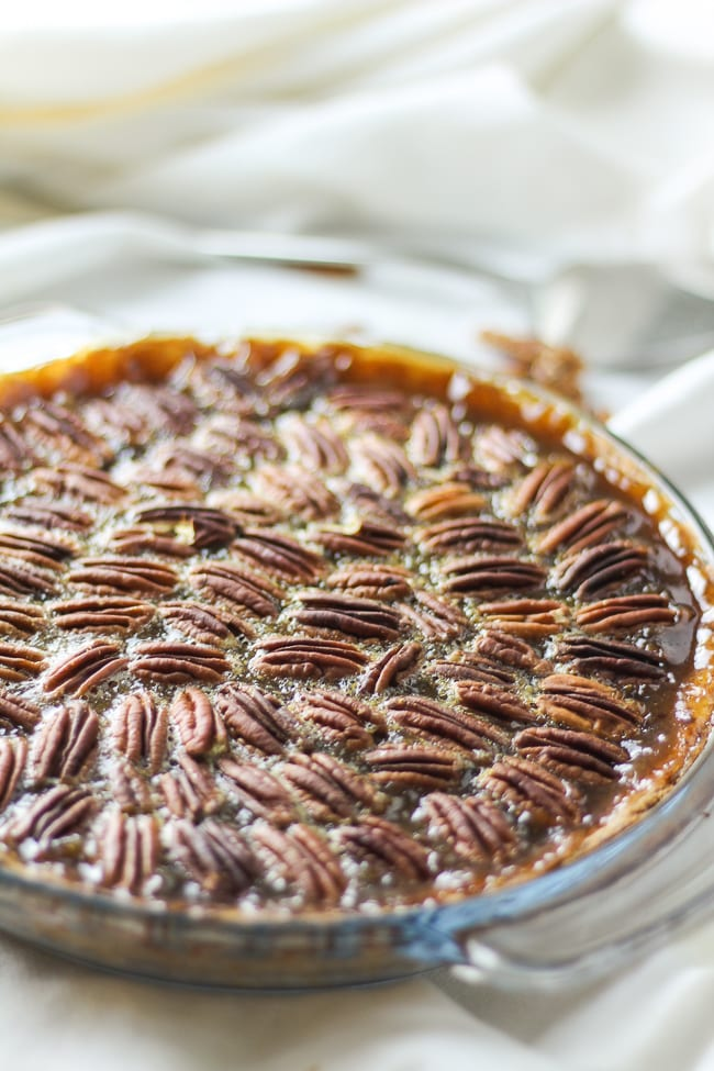 sweet potato pecan pie in a baking dish