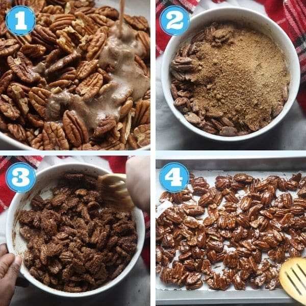 4 grid step by step photo of pouring flax seed egg and sugar mixture over nuts and baking them