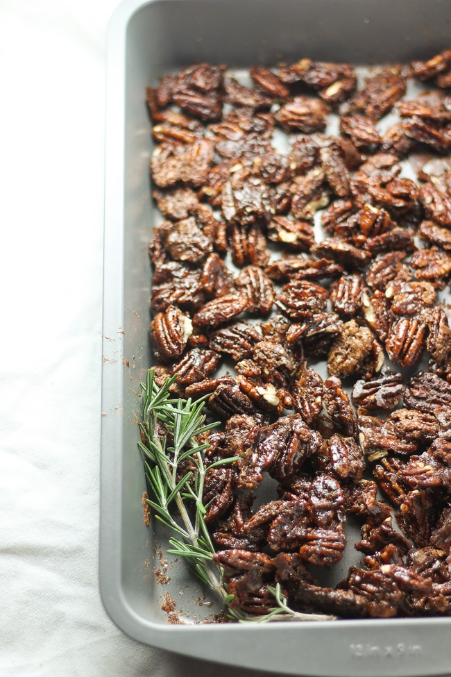 vegan candied pecans in a baking pan
