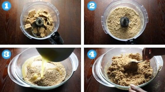 step by step photos of strawberry vegan cheesecake crust ingredients