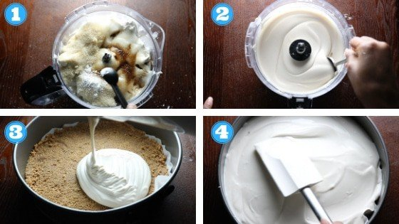 step by step photos of strawberry vegan cheesecake filling ingredients