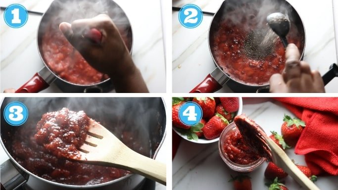 step by step photo of strawberry chia jam