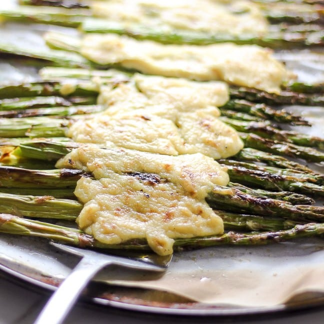 roasted asparagus with melted vegan