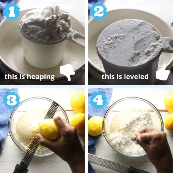 step by step 4 grid photo of dry ingredients for cake