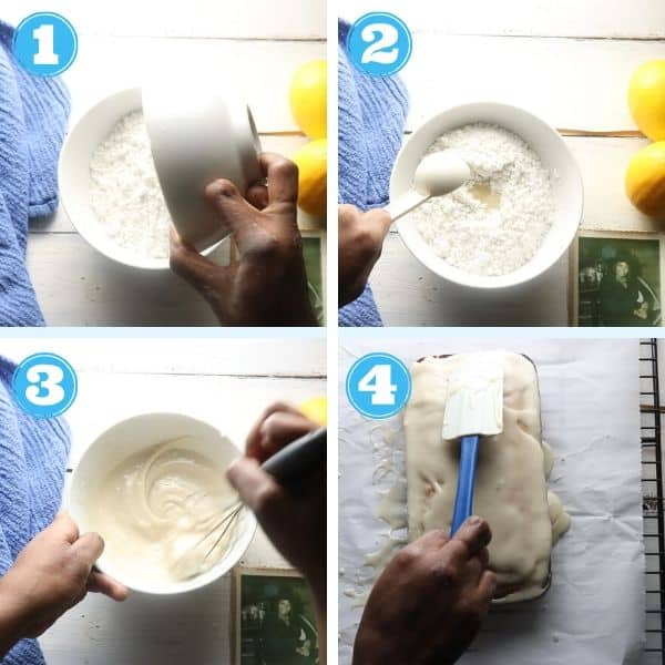step by step 4 grid photo of making the lemon glaze
