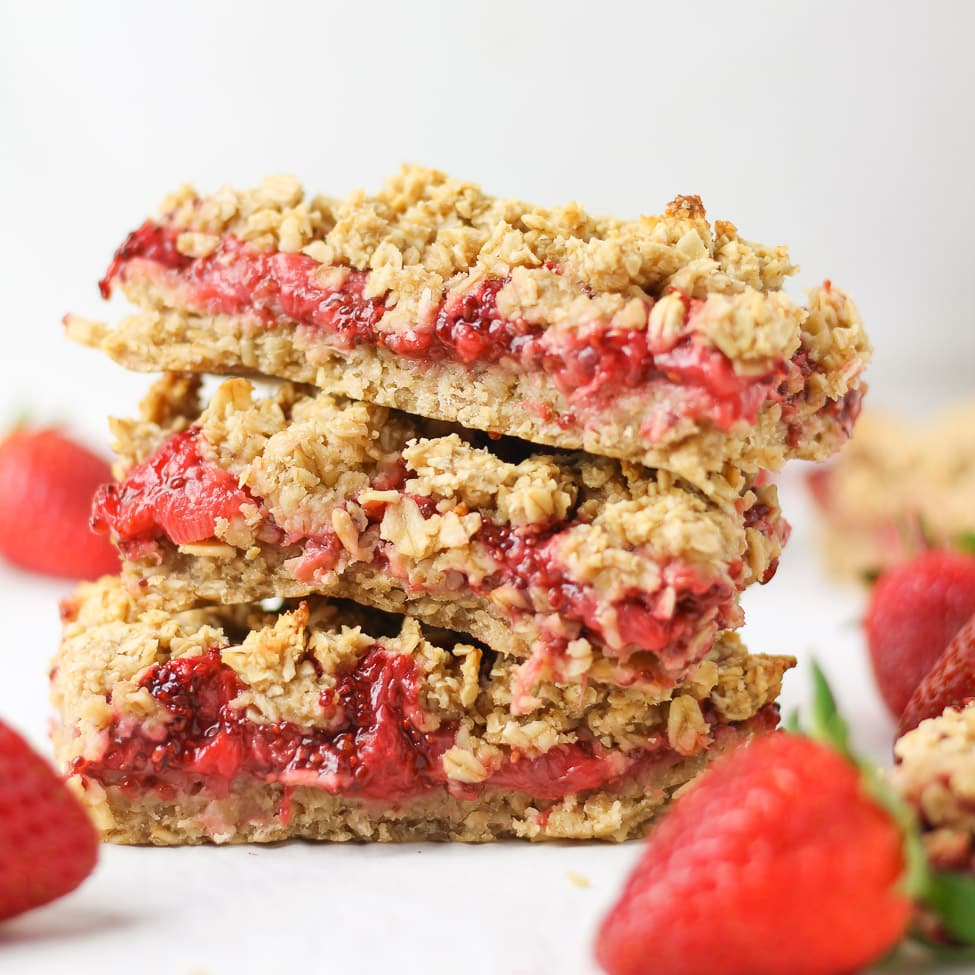 strawberry bars stacked on top of each other
