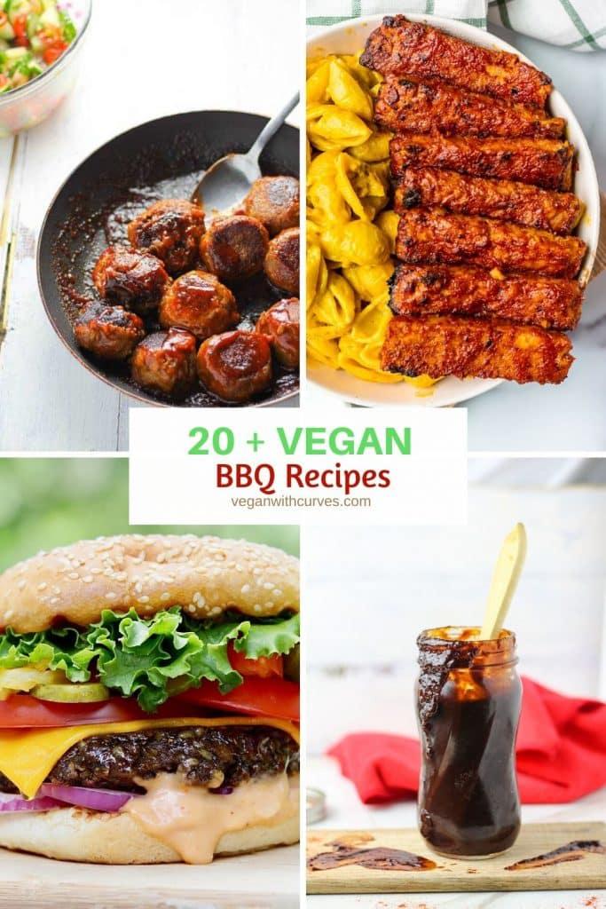 Pinterest graphic 4 grid photo of vegan bbq meatballs, tempeh ribs, burger, and BBQ sauce