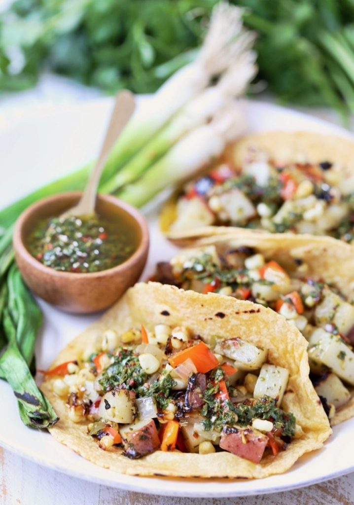 grilled veggie in soft taco shells with chimichurri sauce