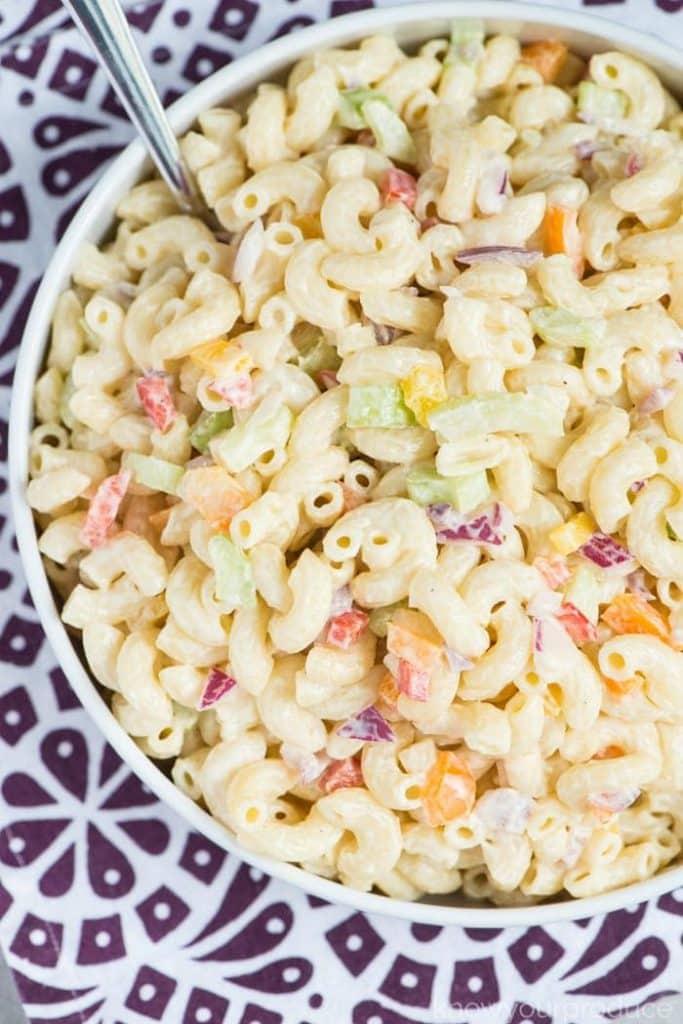 macaroni salad in a bowl
