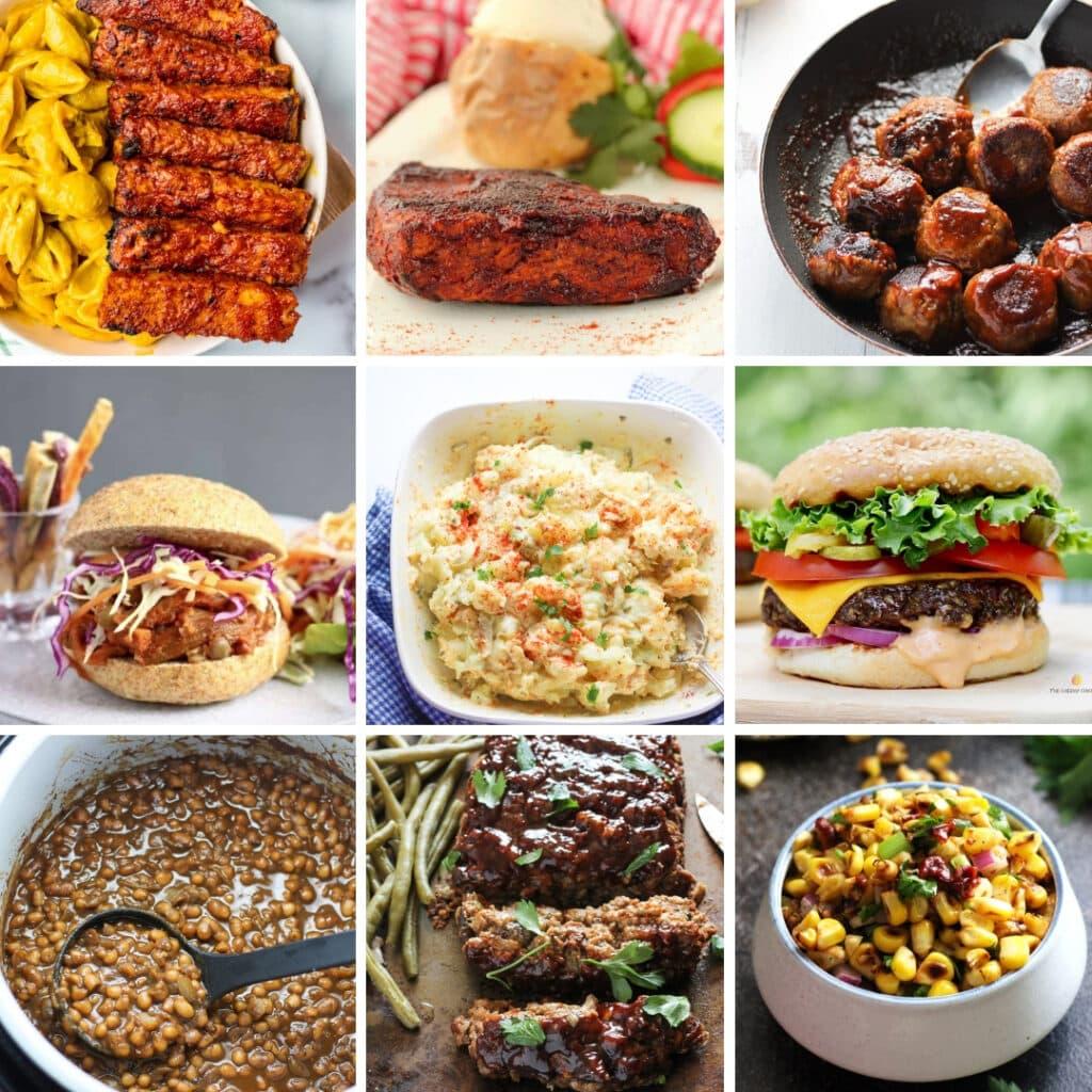 9 grid photo of vegan bbq meatballs, tempeh ribs, burger, and BBQ sauce