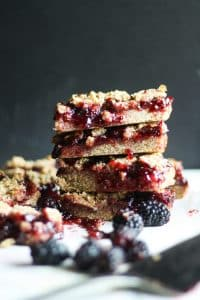 blackberry bars stacked on top of each other