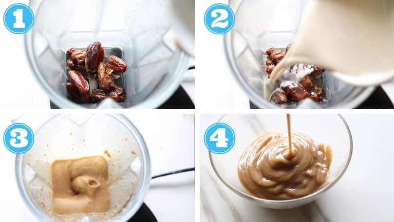 step by step photos of making date caramel sauce