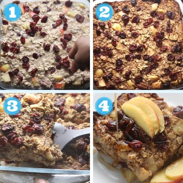 a step by step photo of adding toppings to baked oatmeal and serving it with apples