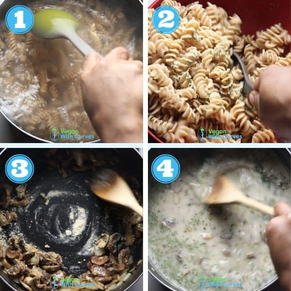 a 4 grid step by step photo of cooking pasta and making creamy sauce