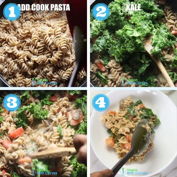 a 4 grid step by step photo of adding vegetable to pasta and serving it in a bowl