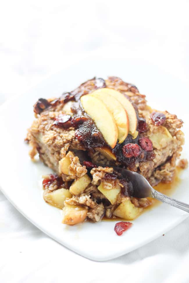 apple vegan baked oatmeal with fork going through it