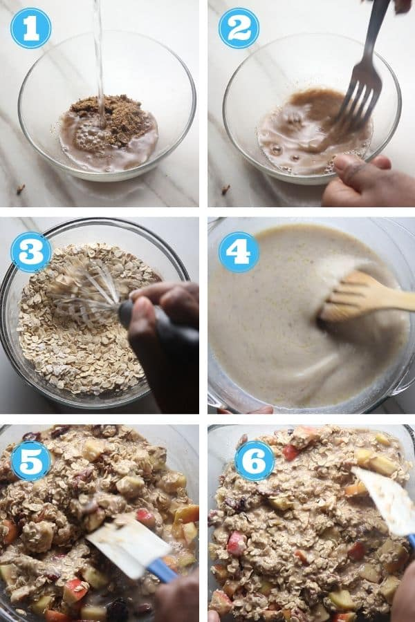 a step by step photo of making flax egg and assembling oats