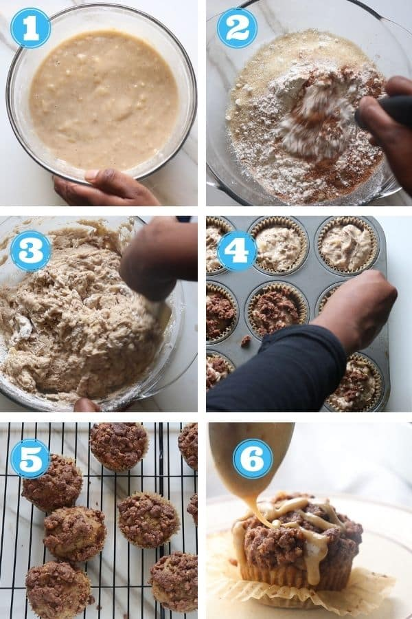 step by step photos of making crust to go on top of muffins