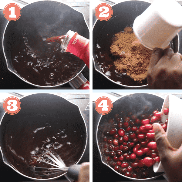 step by step photo of pouring Karuna juice, coconut sugar, and cranberries in a pot