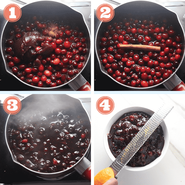 step by step photo of spices added to pot of cranberries and cranberries cooked till thicken