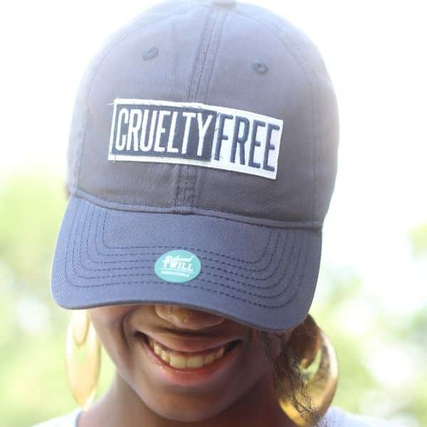 picture of Gina Marie wearing a Cruelty Free hat