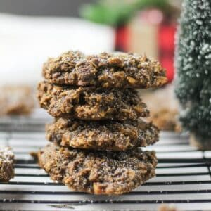 ginger oatmeal cookies stacked on top of each other