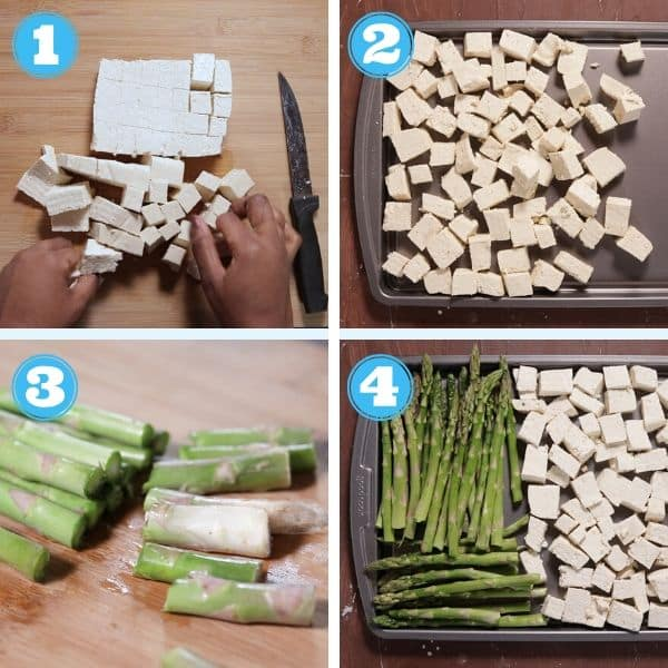 4 grid photo of cutting tofu, cutting asparagus and adding them to a sheet pan