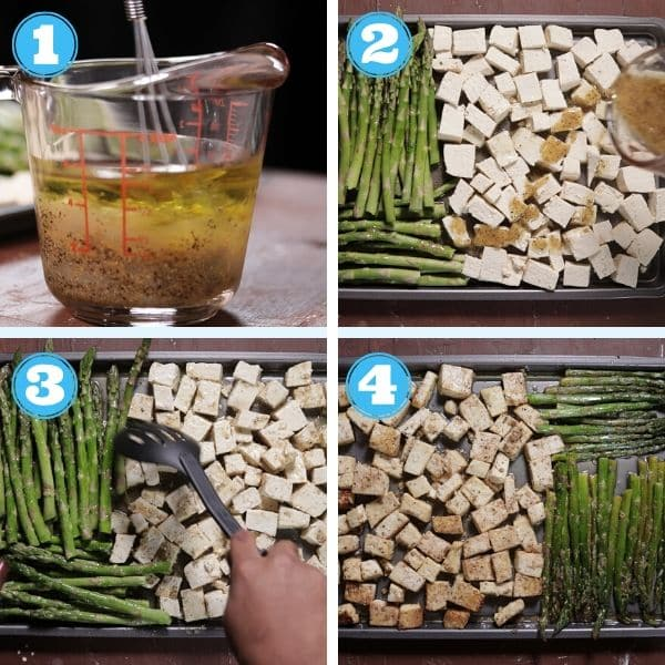 4 grid photo of mixing marinade, pouring it over tofu and asparagus and baking it