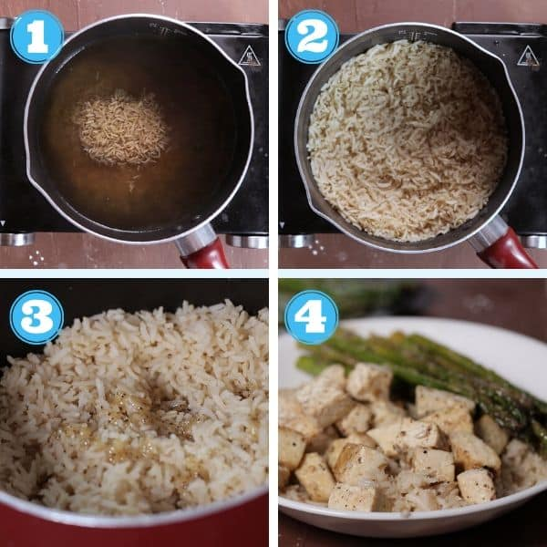 4 grid photo of cooking rice and adding rice, tofu, and asparagus onto a plate
