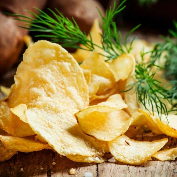 picture of potato chips to show example of unhealthy vegan calorie dense foods