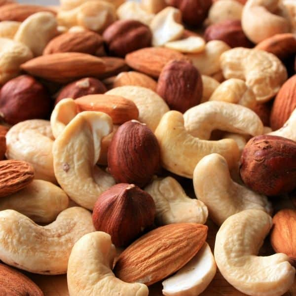 picture of assorted nuts of healthy vegan calorie dense foods